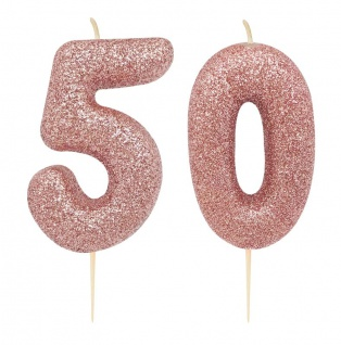 Kuchen Kerze 50. Geburtstag Rosegold Glitzer