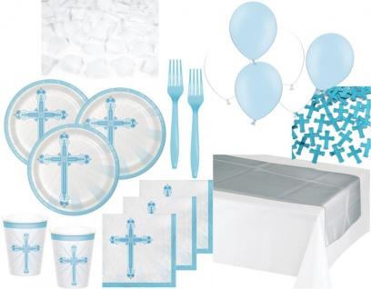 XXL 120 Teile Deluxe Baby Taufe in Blau Partydekoration Set für bis zu 18 Personen - Kreuz Dekoration
