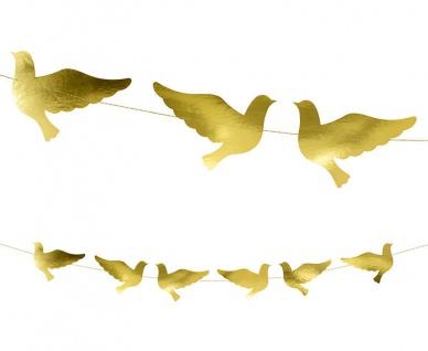 Girlande Gold foliertert mit Tauben