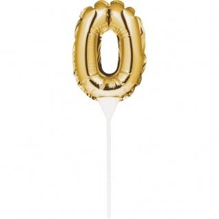 Kuchen oder Deko Stecker Zahl 0 Gold selbstaufblasend