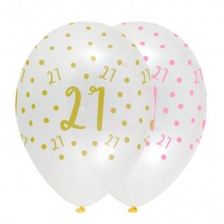 6 Luftballons zum 21. Geburtstag durchsichtig mit Rosa und Gold bedruckt
