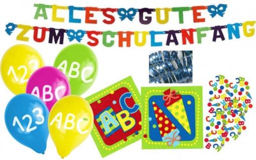 20 Servietten + Girlande + 5 Luftballons + Konfetti zum Schulanfang - Vorschau 1
