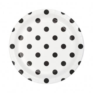 8 kleine Papp Teller Punkte in Schwarz