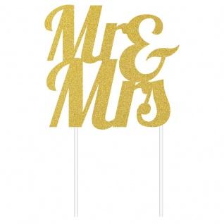 Glitzer Kuchen oder Deko Stecker Mr & Mrs zur Hochzeit in Gold