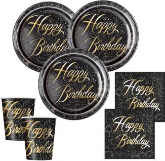 32 Teile edles Party Deko Set Happy Birthday zum Geburtstag in Schwarz Gold foliert für 8 Personen