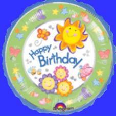 Happy Birthday Folien Ballon mit Sonnen
