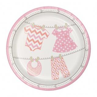 8 kleine Teller Baby Party Pastell Rosa