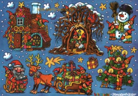 Fensterbild Wichtelweihnacht