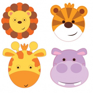 8 Masken bunte Kinder Safari