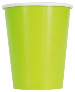14 Papp Becher Neon Grün 266ml