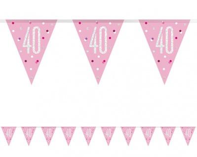 Wimpel Girlande Pink Dots Glitzer zum 40. Geburtstag - Vorschau 1