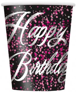 8 Happy Birthday Becher in Schwarz Pink foliert