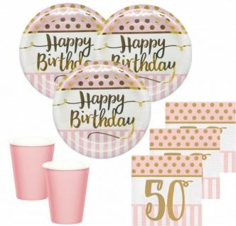 36 Teile Pink Chic Party Deko Set zum 50. Geburtstag in Rosa und Gold Glanz für 8 Personen