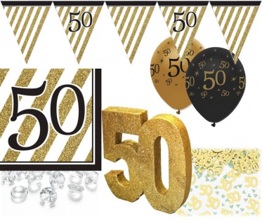 35 Teile Set zum 50. Geburtstag, Jubiläum oder Goldene Hochzeit - Party Deko in Schwarz & Gold