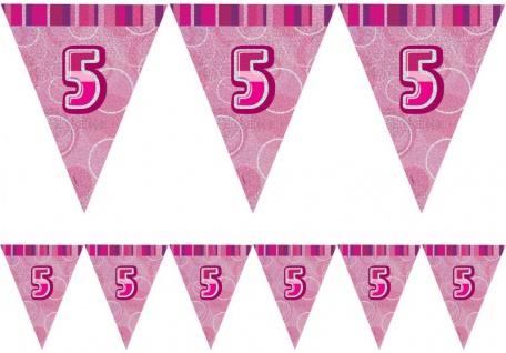 5. Geburtstag Wimpel Girlande Pink