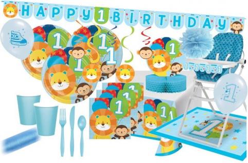 XXL 74 Teile Erster Geburtstag im Zoo Blau Party Deko Set 8 Personen - Löwe
