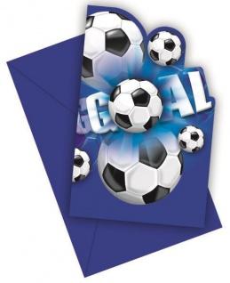 6 Einladungskarten Fußball blau