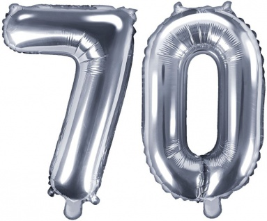Folienballons Zahl 70 Silber Metallic 35 cm