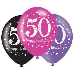 6 Luftballons Pink und Schwarz 50. Geburtstag