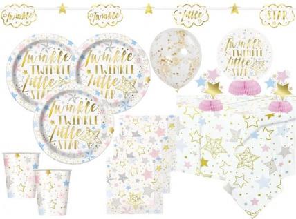 XL 43 Teile Twinkle twinkle little Star Party Deko Set foliert für 8 Personen