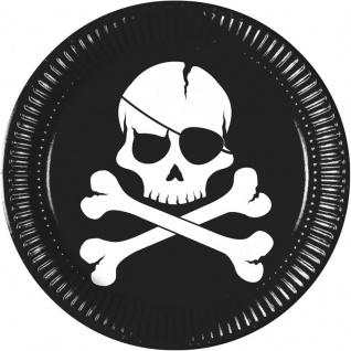 8 Papp Teller Black Skull Piraten