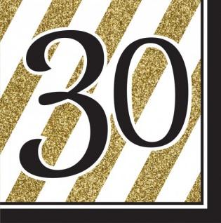 30 Teile Set zum 30. Geburtstag oder Jubiläum - Party Deko in Schwarz & Gold - Vorschau 3