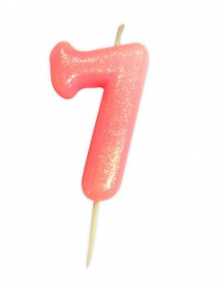 Schimmernde Glitzer Zahlenkerze 7 in Rosa