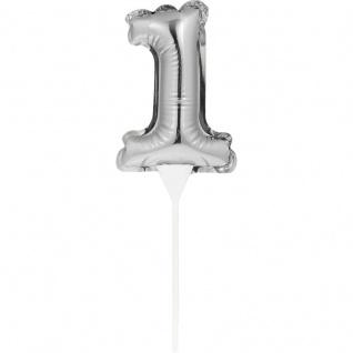 Kuchen oder Deko Stecker Zahl 1 Silber selbstaufblasend