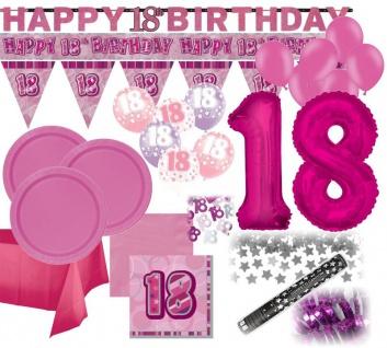 XXL Mega 93 Teile zum 18. Geburtstag Dekorations Party Set Pink für 32 Personen