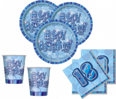 32 Teile zum 18. Geburtstag Party Set in Blau für 8 Personen