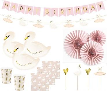XL 41 Teile kleiner Schwan Geburtstags Party Deko Set für 6 Kinder
