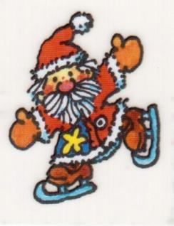 Mini Fensterbild Weihnachtsmann mit Schlittschuhen