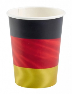 8 Papp Becher Deutschland Flagge