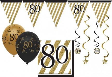 34 Teile Dekorations Set zum 80. Geburtstag oder Jubiläum - Party Deko in Schwarz & Gold