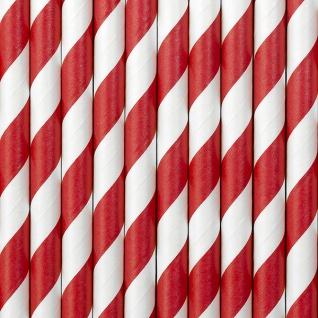 10 Papier Trinkhalme rot weiß gestreift