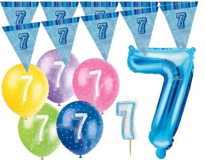7. Geburtstag Blau Folienballon + Girlande + Luftballons + Kerze Deko Set - Sieben