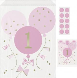 8 Papier Tütchen 1. Geburtstag Vichy Karo in Rosa