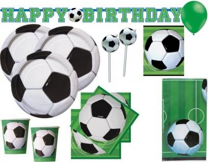 XL 64 Teile Fußball Party Deko Set für 8 Personen