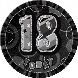 XXL Glitzer Button 18. Geburtstag Schwarz
