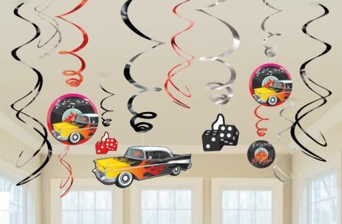 12 Swirl Girlanden 50er Jahre Rock'n Roll Motto Party