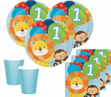 32 Teile Erster Geburtstag im Zoo Blau Party Deko Set 8 Personen - Löwe