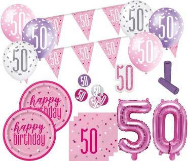 XL 36 Teile 50. Geburtstag Pink Dots Party Set 8 Personen