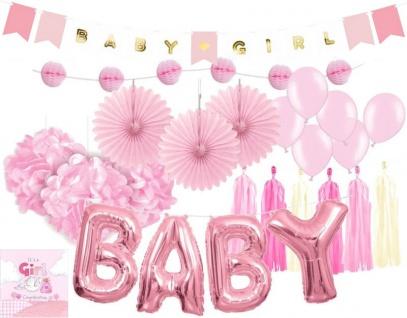XXL 36 Teile DIY Babyshower Mädchen Girlande Raumdeko Deko Set Rosa Baby Party Girl