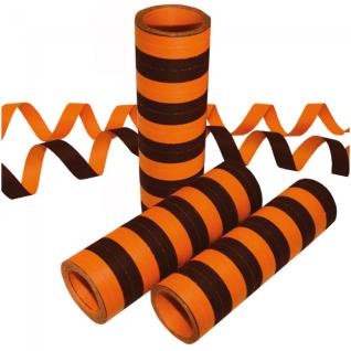 Papier Luftschlangen Orange und Schwarz - 1 Rolle a 20 Wurf flammensicher