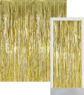 Glitzer Fransen Party Vorhang in Gold Metallic - Fotobox 2, 4 Meter lang