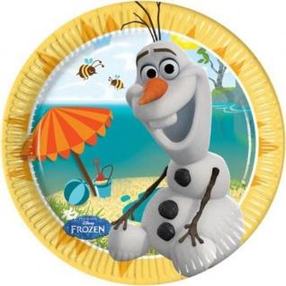 8 kleine Teller Frozen Eiskönigin Olaf im Sommer