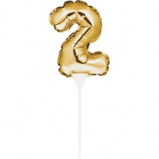 Kuchen oder Deko Stecker Zahl 2 Gold selbstaufblasend