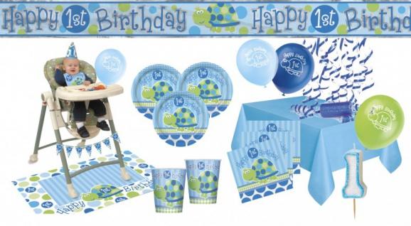 XXL Party Deko Set 1. Geburtstag Schildkröte Blau für 16 Personen