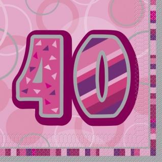 16 Servietten zum 40. Geburtstag in Pink