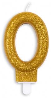 Glitzer Zahlenkerze in Gold 0